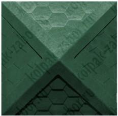 """Колпак ППК 385х385х43 Зеленый на столб заборный 1,5 кирпича """"Гибкая черепица"""""""